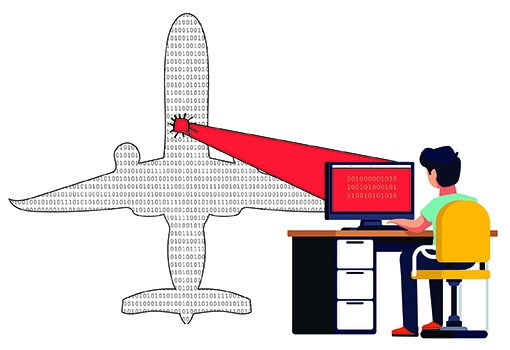 Illustration of a person at a keyboard working working with binary code to provide a patch for software in an airliner.