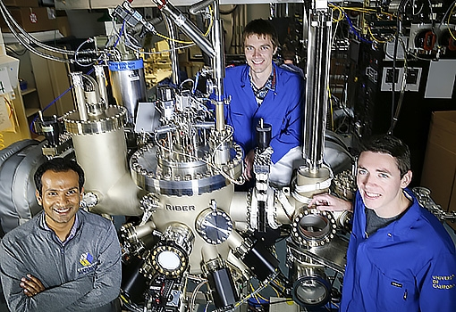 Kunal Mukherjee (lower left) with PhD students (from top) Brian Haidet and Eamonn Hughes in the MBE lab.