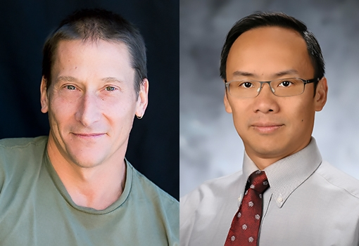 Professors and new ACM Fellows (from left): Giovanni Vigna and Yuan Xie