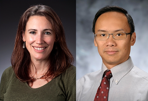 Newly Elected AAAS Fellows Elizabeth Belding (left) and Yuan Xie