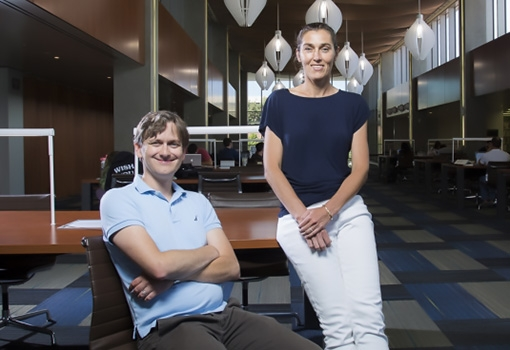 Quantum Foundry co-directors Ania Bleszynski Jayich (physics) and Stephen Wilson (materials). Photograph by Matt Perko.