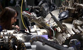 Researcher at lab instrumentation